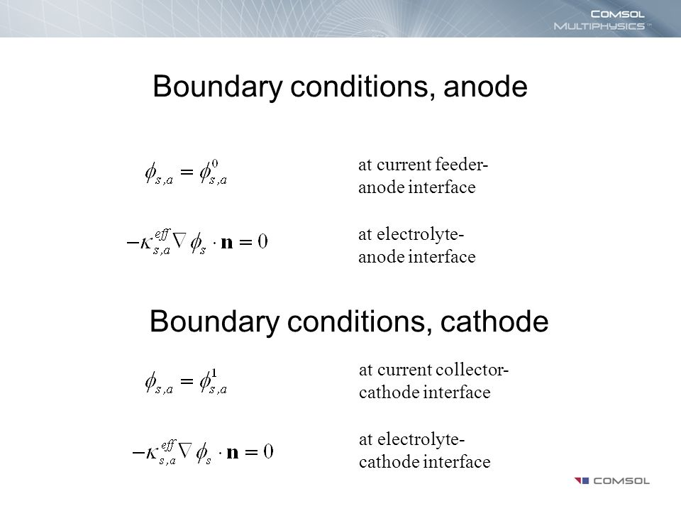 Boundary conditions, anode