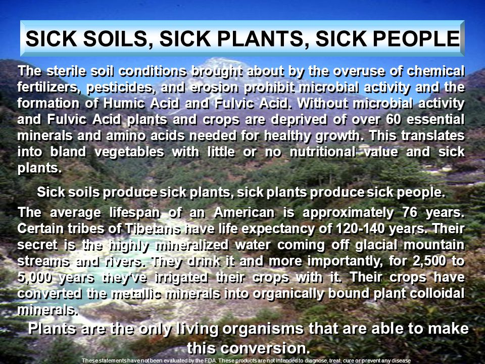 SICK SOILS, SICK PLANTS, SICK PEOPLE