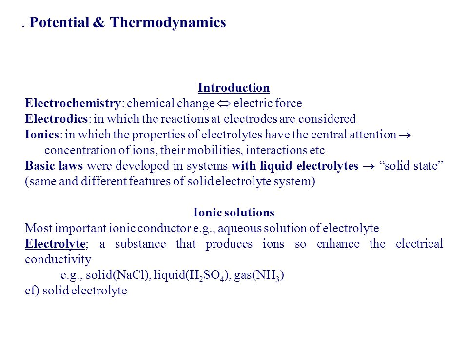 . Potential & Thermodynamics
