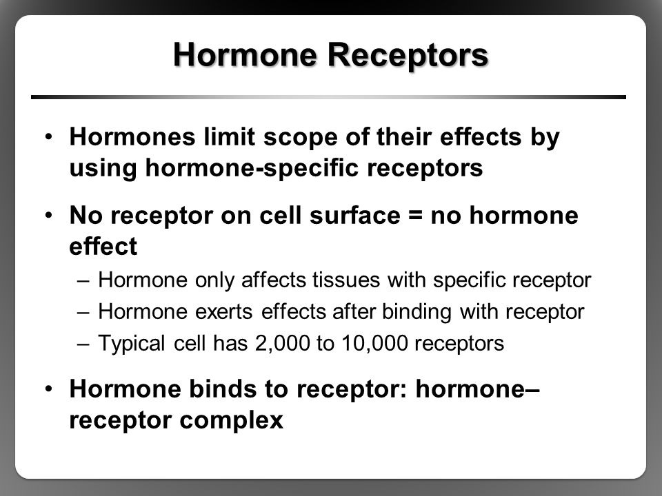 Hormone Receptors Hormones limit scope of their effects by using hormone-specific receptors. No receptor on cell surface = no hormone effect.