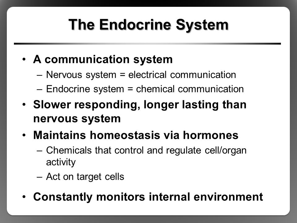 The Endocrine System A communication system