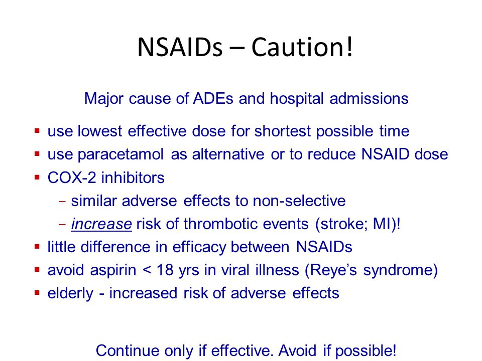 NSAIDs – Caution! Major cause of ADEs and hospital admissions