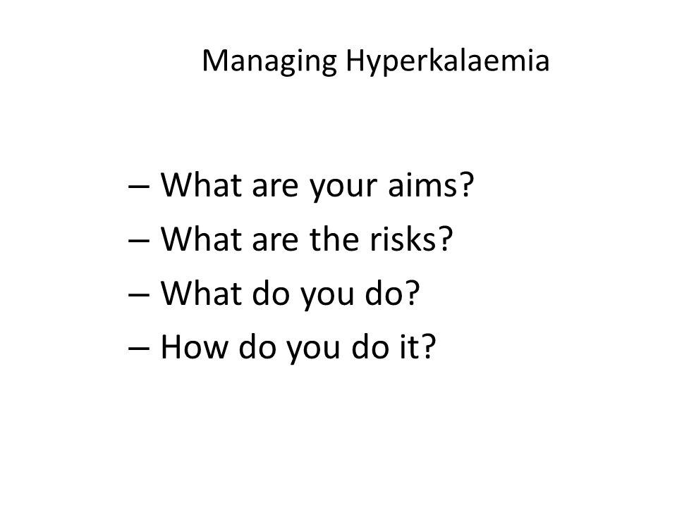 Managing Hyperkalaemia