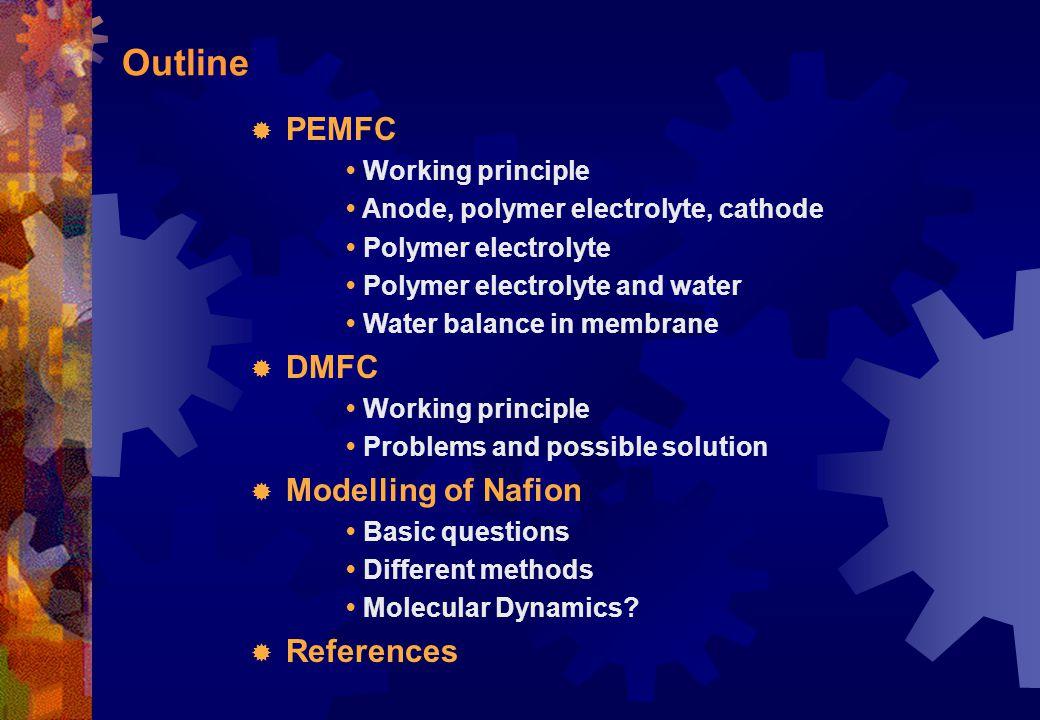 Outline PEMFC DMFC Modelling of Nafion References • Working principle
