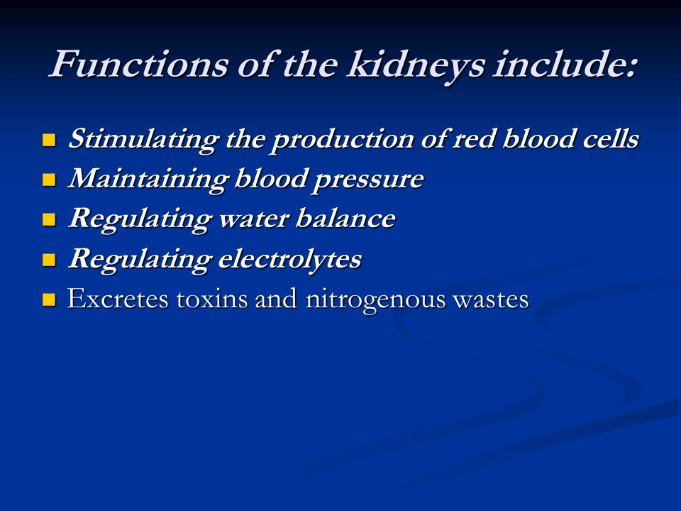 Functions of the kidneys include: