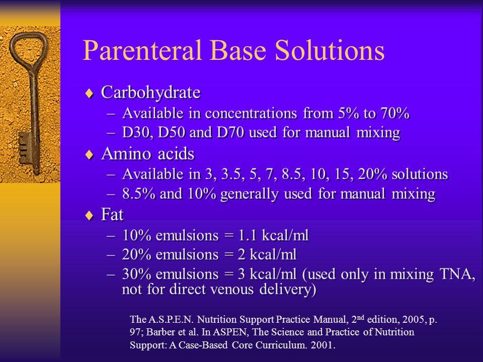 Parenteral Base Solutions