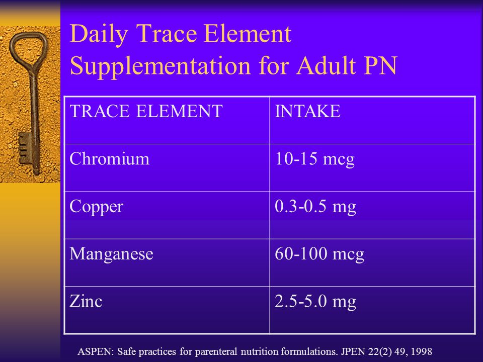 Daily Trace Element Supplementation for Adult PN