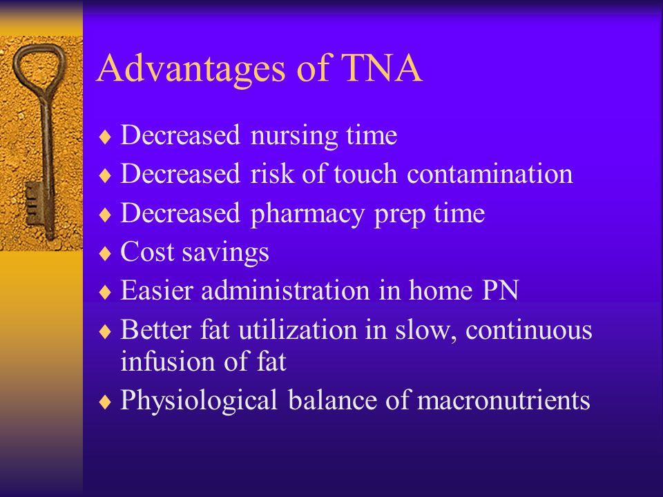 Advantages of TNA Decreased nursing time