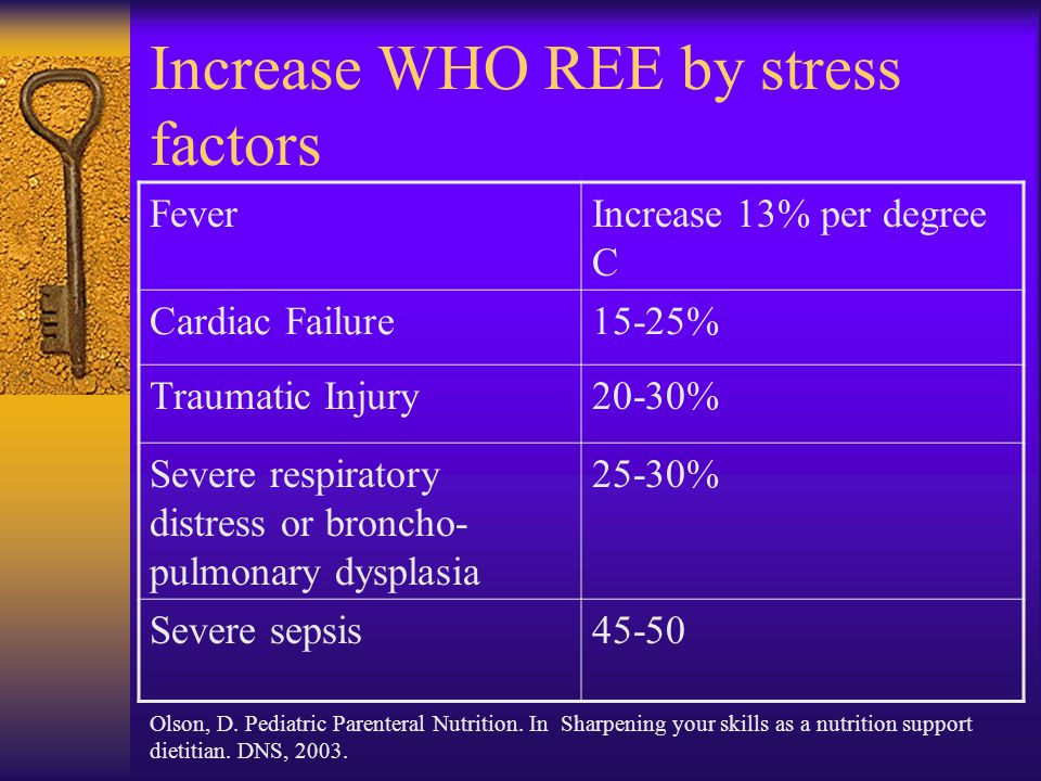 Increase WHO REE by stress factors