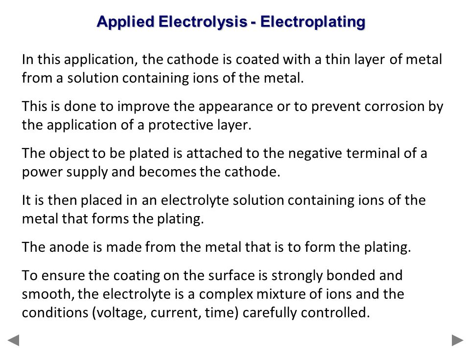 Applied Electrolysis - Electroplating