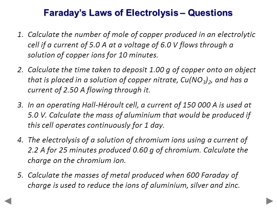 Faraday's Laws of Electrolysis – Questions