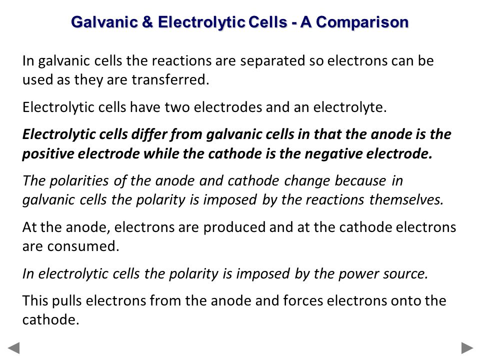 Galvanic & Electrolytic Cells - A Comparison