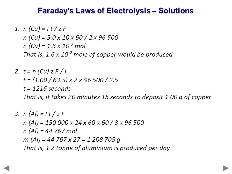 Faraday's Laws of Electrolysis – Solutions