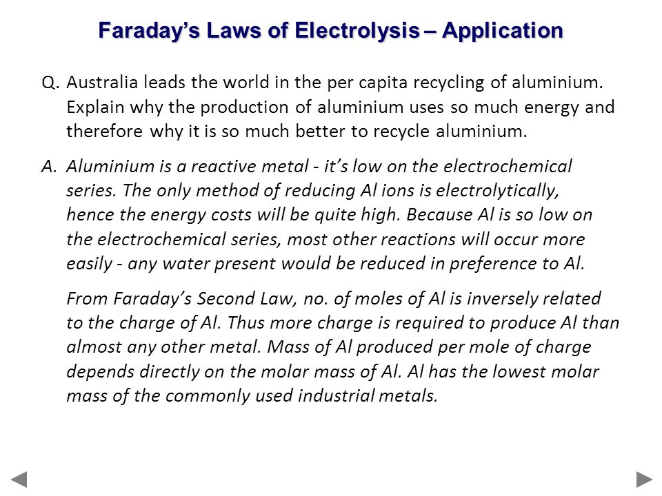 Faraday's Laws of Electrolysis – Application