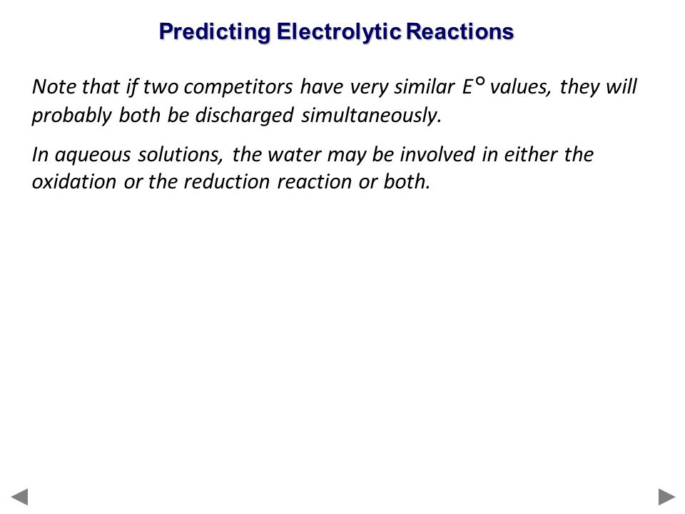 Predicting Electrolytic Reactions