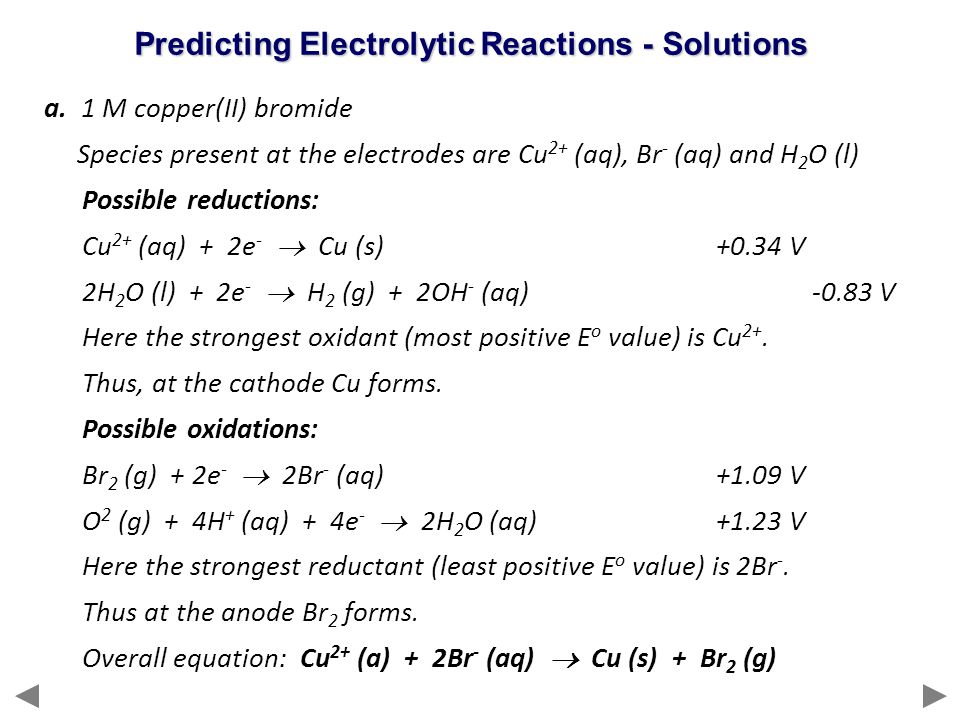 Predicting Electrolytic Reactions - Solutions