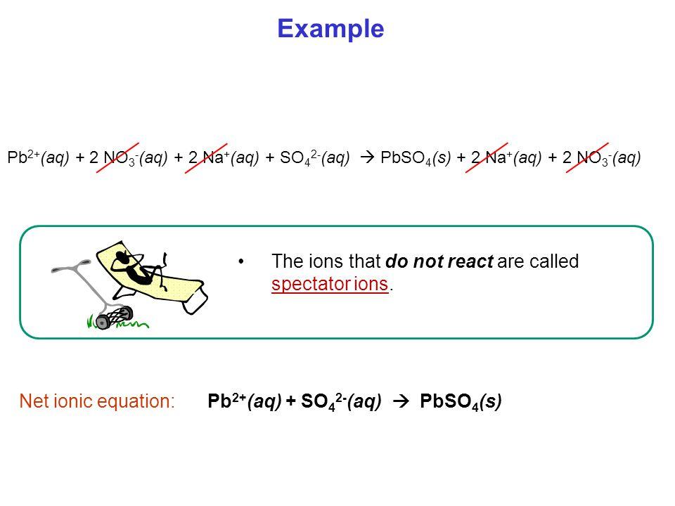 Pb2+(aq) + SO42-(aq)  PbSO4(s)