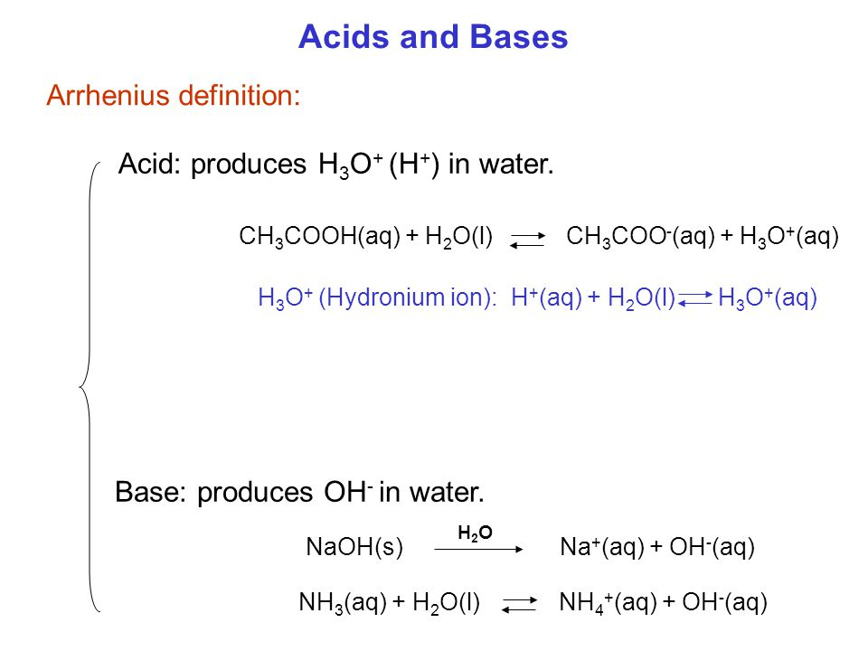 Acids and Bases Arrhenius definition: