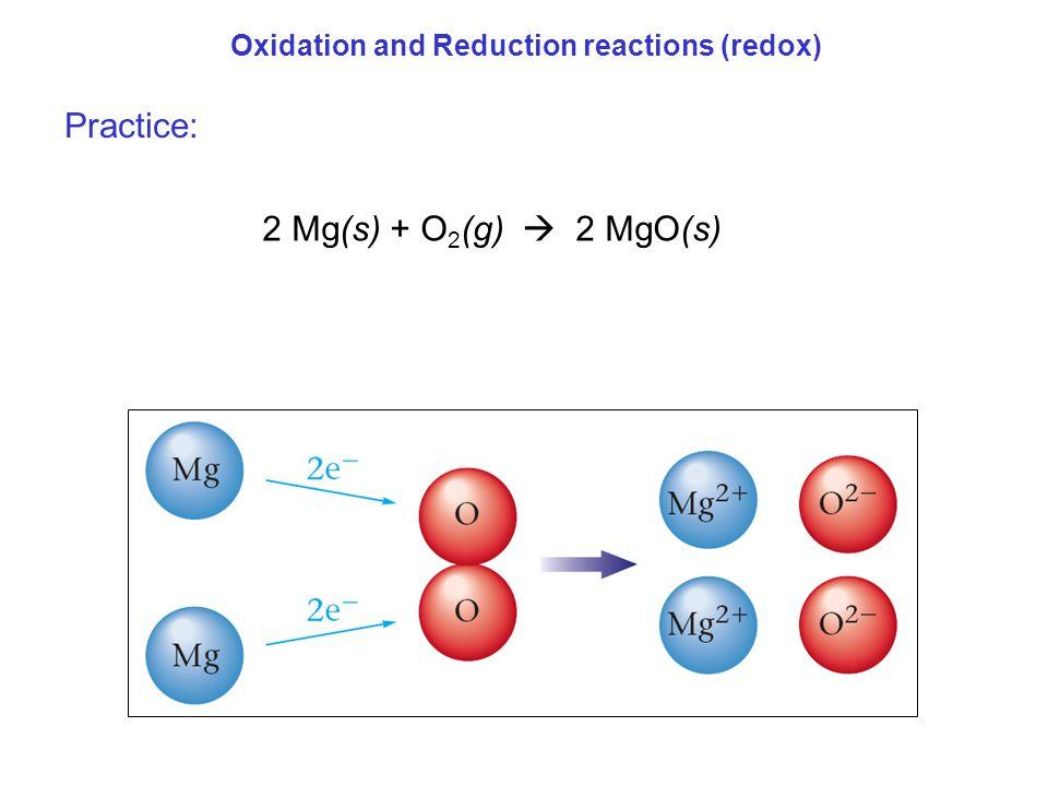 Practice: 2 Mg(s) + O2(g)  2 MgO(s)
