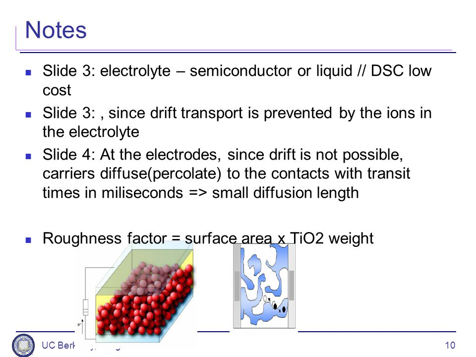 Notes Slide 3: electrolyte – semiconductor or liquid // DSC low cost