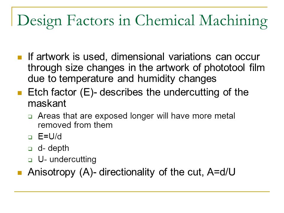 Design Factors in Chemical Machining