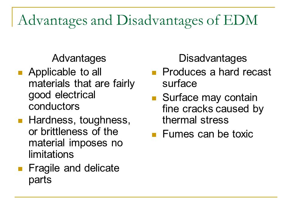 Advantages and Disadvantages of EDM