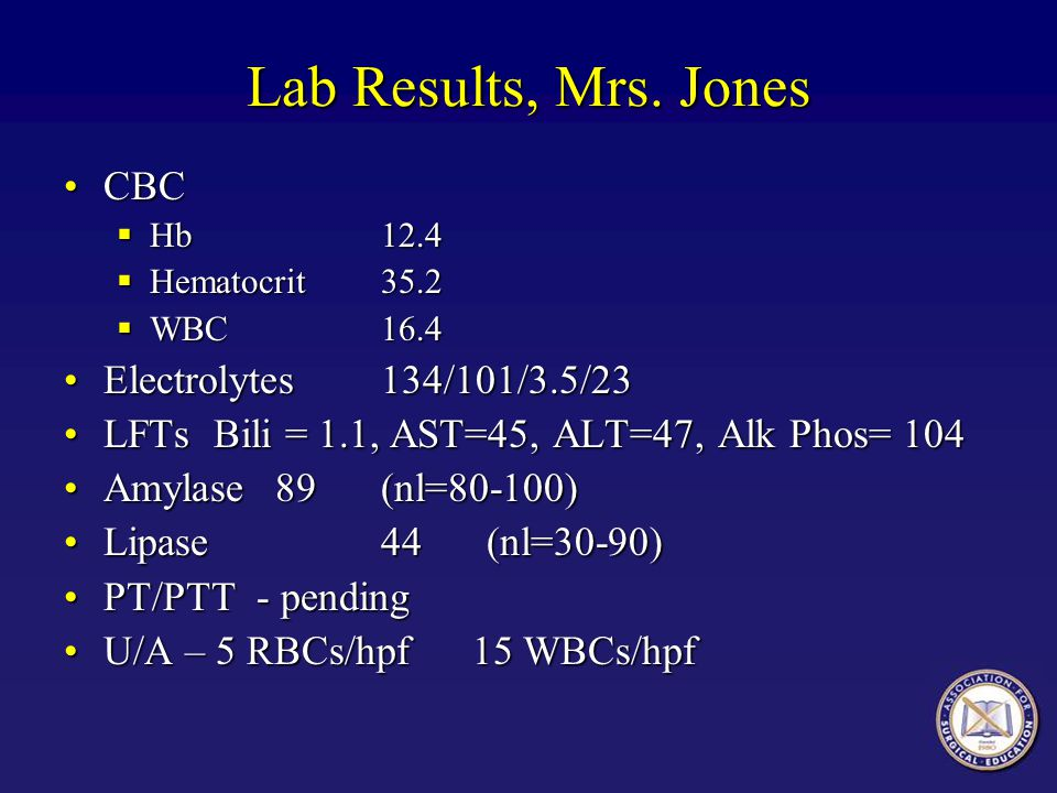 Lab Results, Mrs. Jones CBC Electrolytes 134/101/3.5/23