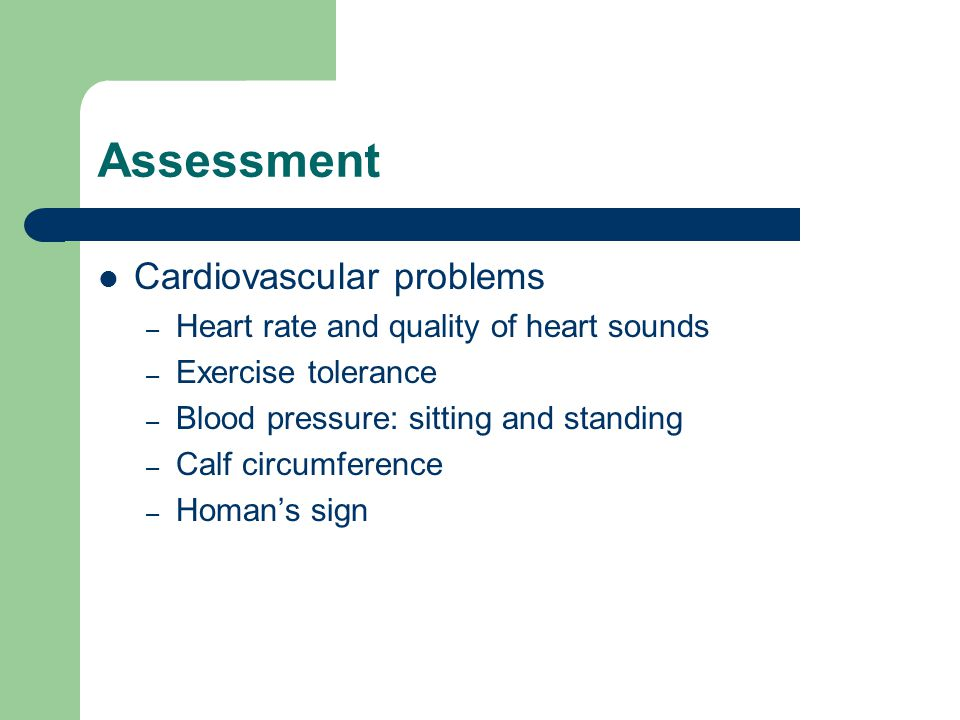 Assessment Cardiovascular problems