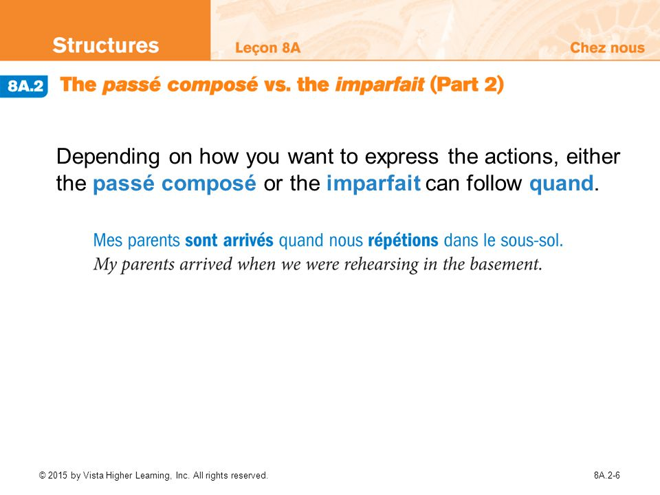 Depending on how you want to express the actions, either the passé composé or the imparfait can follow quand.