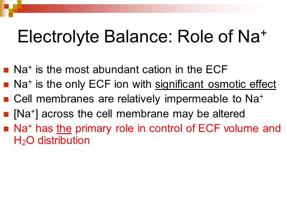 Electrolyte Balance: Role of Na+