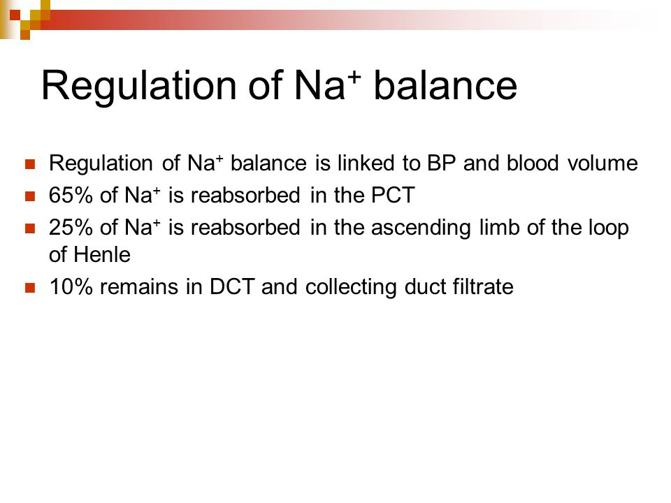 Regulation of Na+ balance