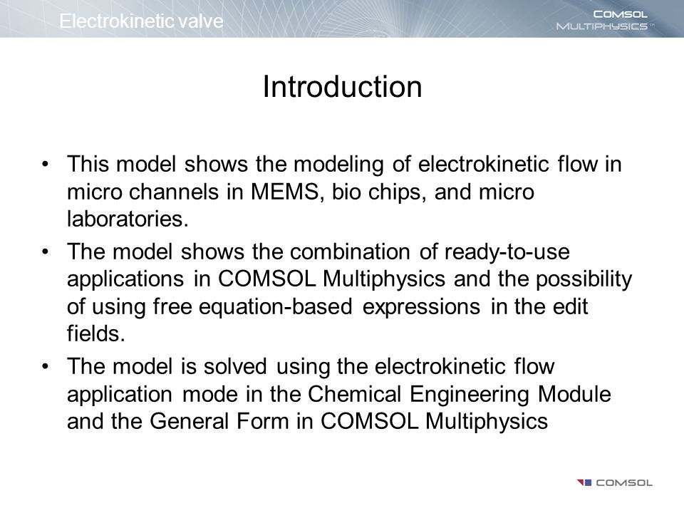Electrokinetic valve Introduction.