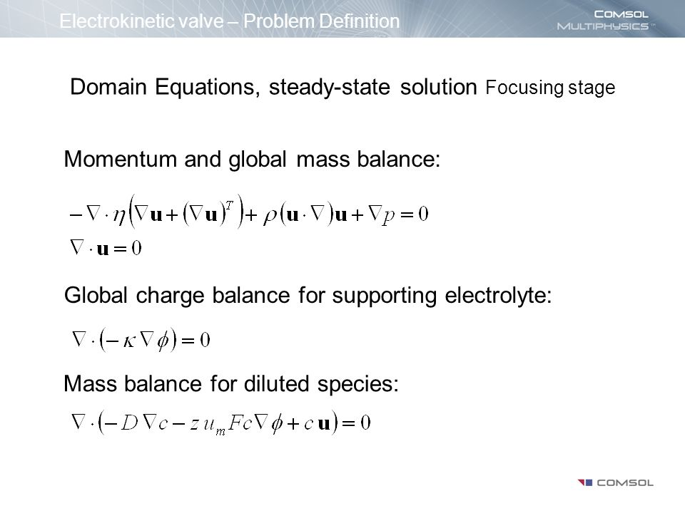 Domain Equations, steady-state solution Focusing stage