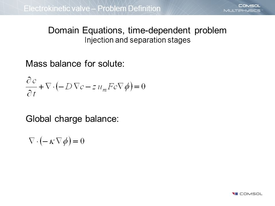 Mass balance for solute: