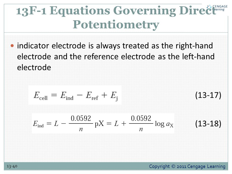 13F-1 Equations Governing Direct Potentiometry