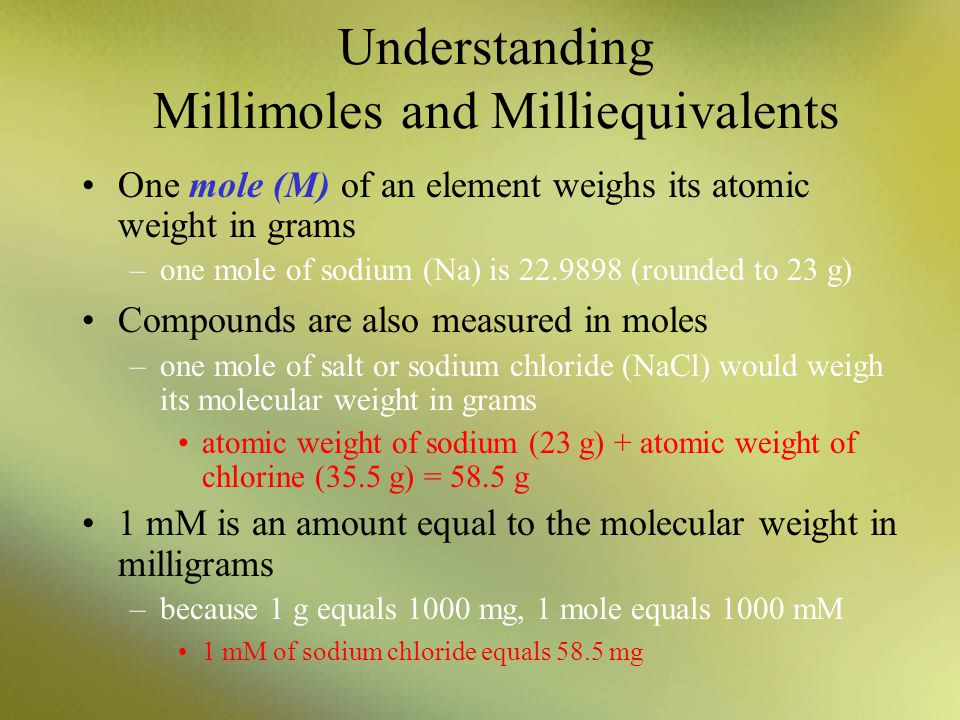 Understanding Millimoles and Milliequivalents