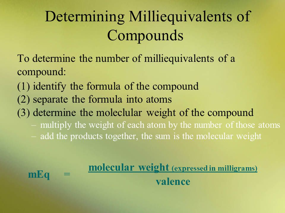 Determining Milliequivalents of Compounds