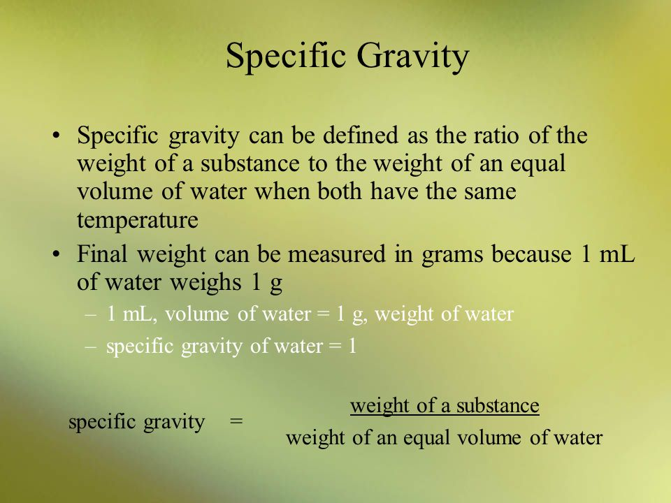 weight of an equal volume of water