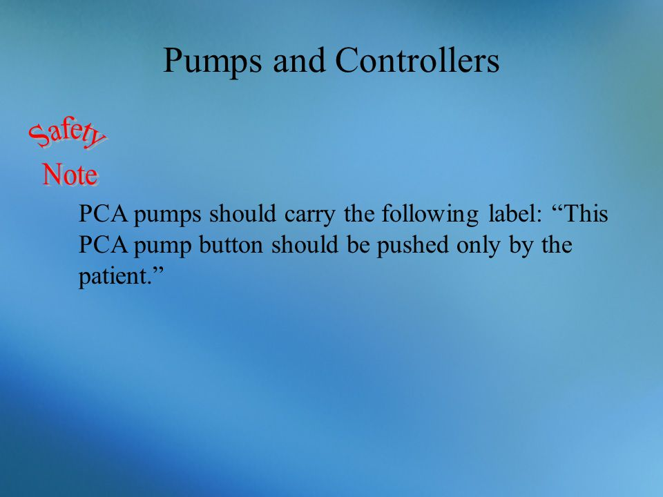 Pumps and Controllers Safety Note