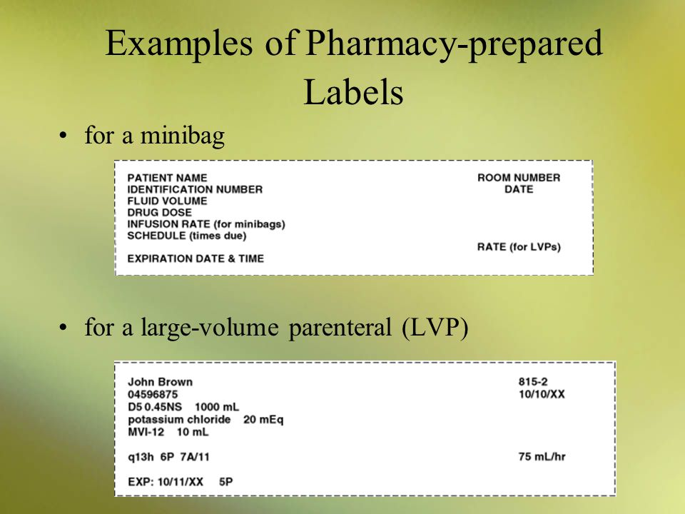 Examples of Pharmacy-prepared Labels
