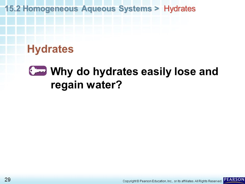 Why do hydrates easily lose and regain water
