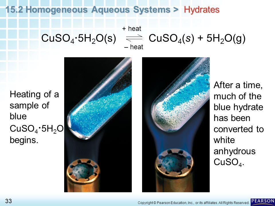 CuSO45H2O(s) CuSO4(s) + 5H2O(g)
