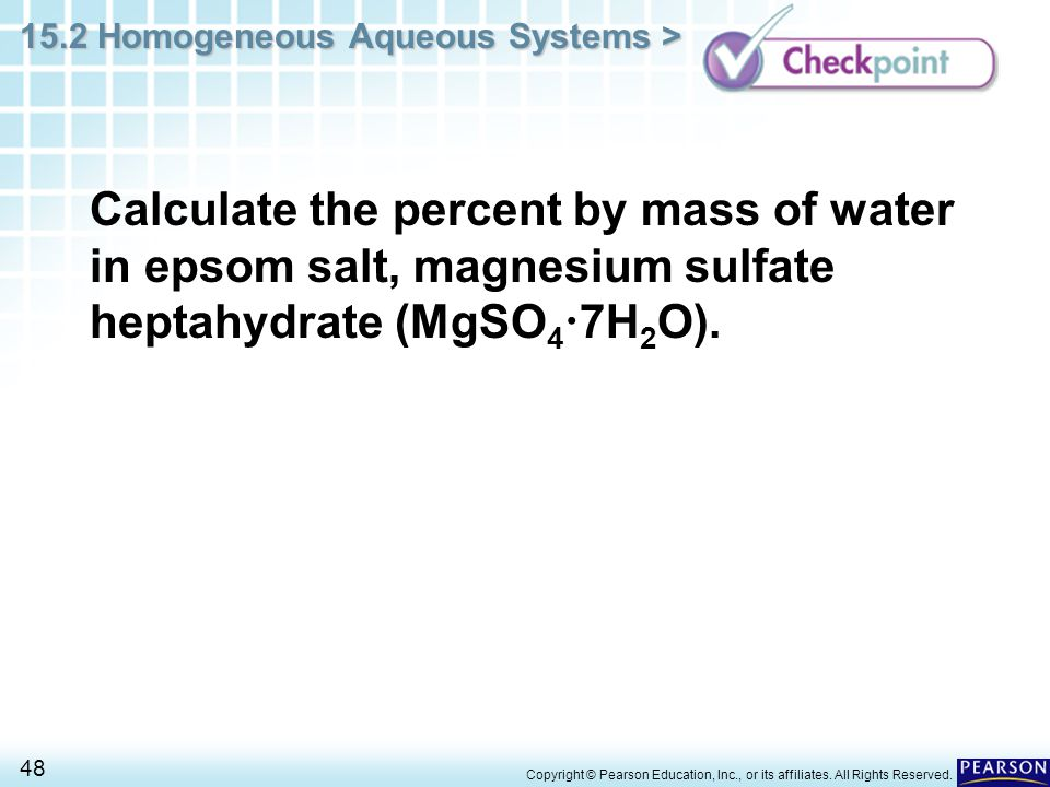 Calculate the percent by mass of water in epsom salt, magnesium sulfate heptahydrate (MgSO47H2O).