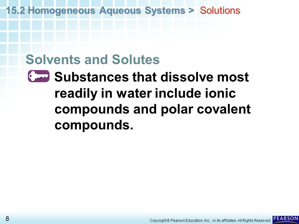 Solutions Solvents and Solutes. Substances that dissolve most readily in water include ionic compounds and polar covalent compounds.