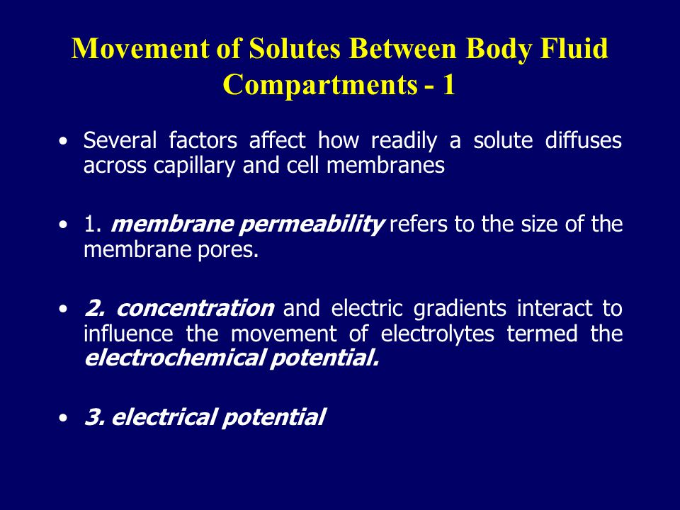 Movement of Solutes Between Body Fluid Compartments - 1