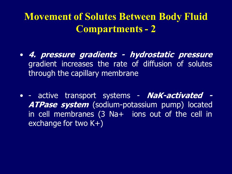 Movement of Solutes Between Body Fluid Compartments - 2