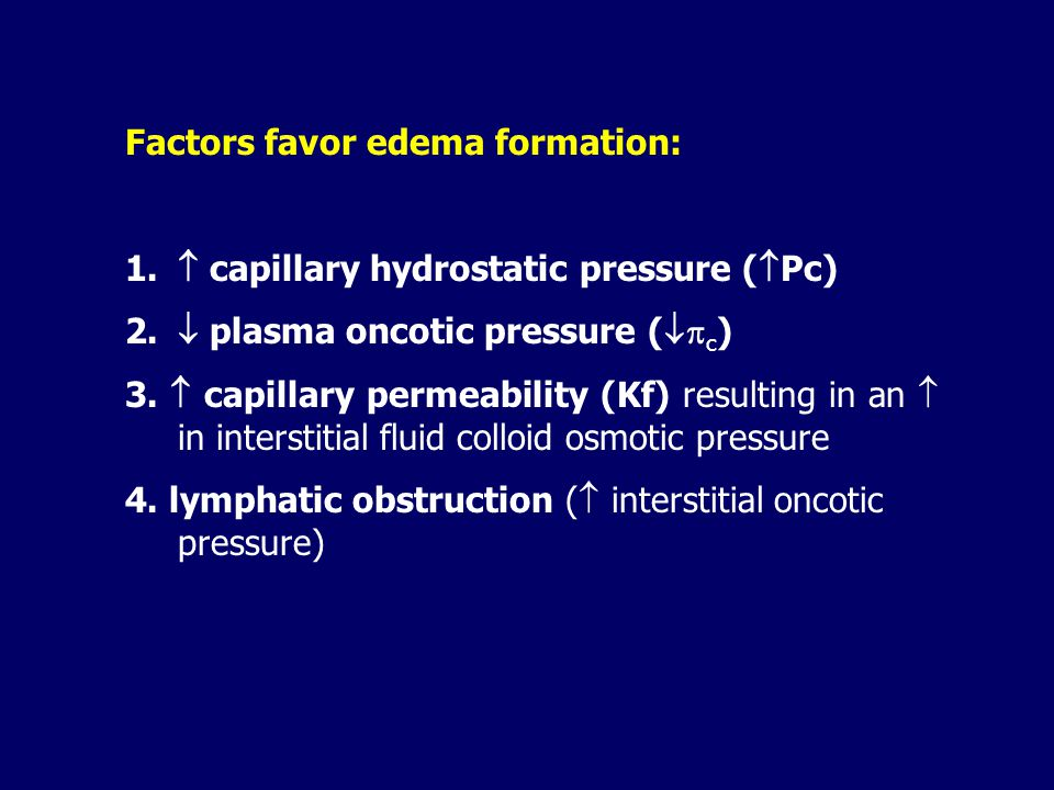 Factors favor edema formation: