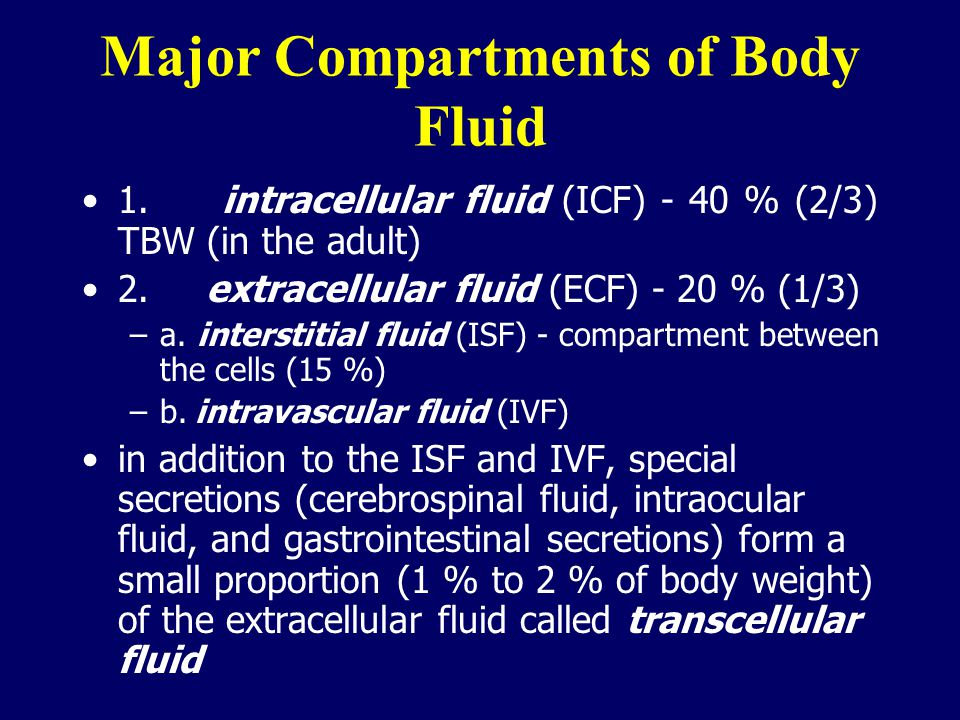 Major Compartments of Body Fluid