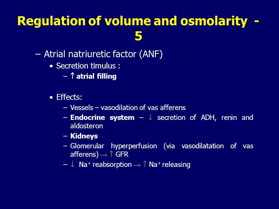 Regulation of volume and osmolarity - 5