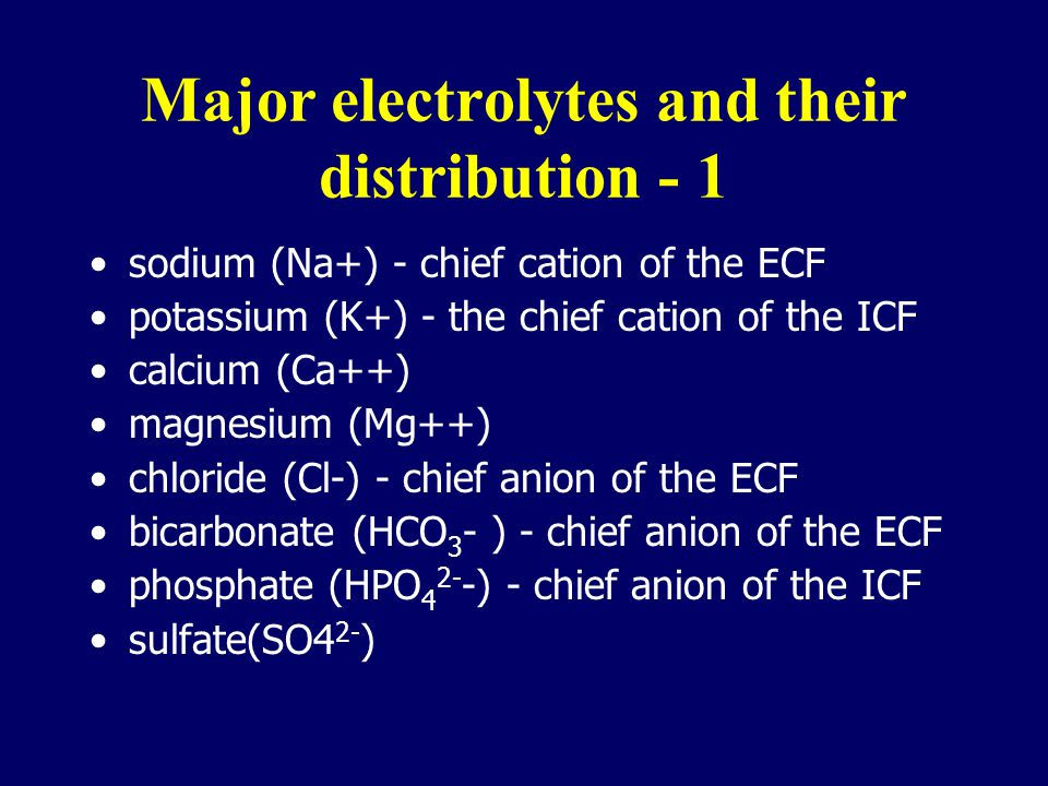 Major electrolytes and their distribution - 1